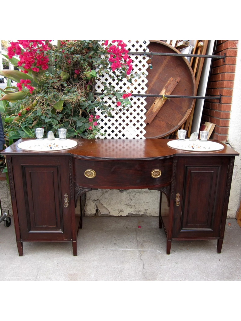 $225 Double Sink in Buffet. Loads of room for storage. GREAT with new hardware