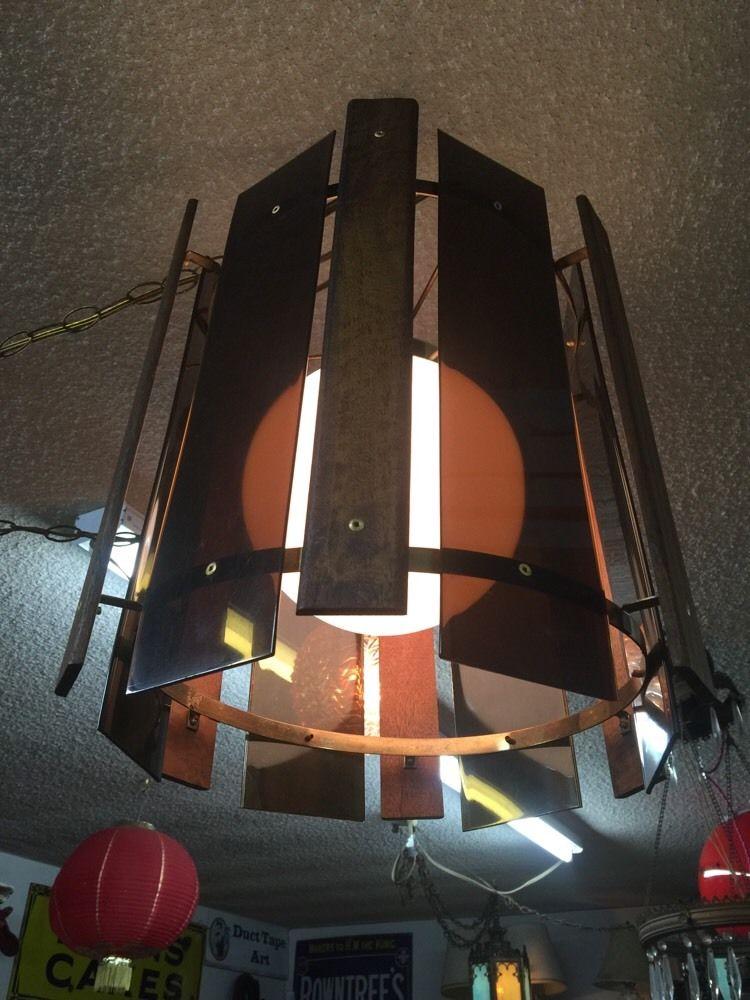 Mid Century Modern Hanging Chandelier Danish Lamp Teak